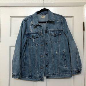 Gap EUC destroyed boyfriend denim jacket large